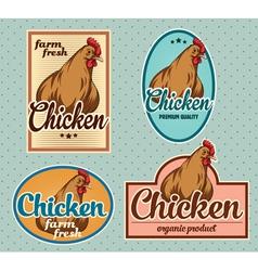Chicken vintage labels set vector image vector image