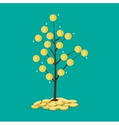 Coin tree concept of savings vector