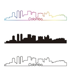 Colombo skyline linear style with rainbow vector