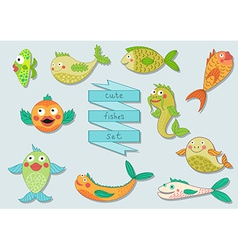 Cute cartoon sea fishes set vector image