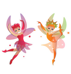 cute fairies in pretty dresses vector image