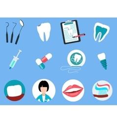 Dental treatment design flat concept vector