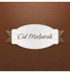 Eid mubarak festive emblem with ribbon vector