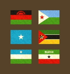 Flags of Malawi Djibouti Somalia Mozambique vector image