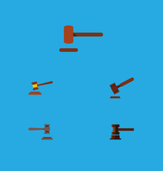 Flat icon court set of hammer legal defense and vector