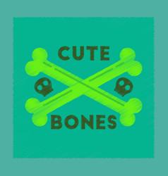 Flat shading style icon cross bones vector