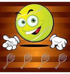 funny smiling tennis ball vector image vector image