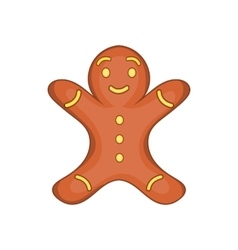 Gingerbread man cookie icon cartoon style vector