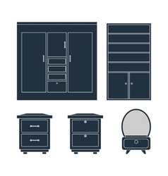 Home furniture Wardrobe bedside tables and mirror vector image vector image