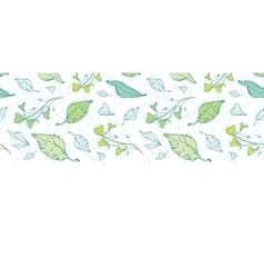 Lineart spring leaves horizontal border vector