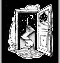 Open door into a dream stairway to the sky vector