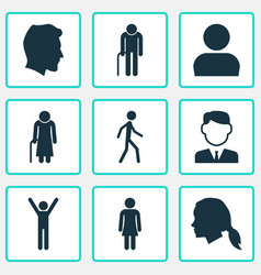 Person icons set collection of user jogging vector