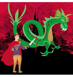 Prince fighting the dragon vector image