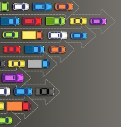 Road background with multicolored cars isolated on vector