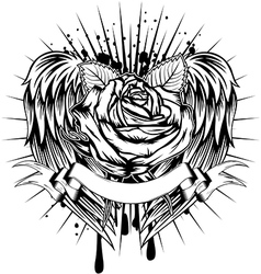 rose and wings vector image