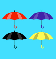 set of umbrellas icons yellow black red and vector image vector image