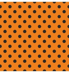 Tile black polka dots on orange background vector image vector image