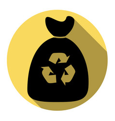 Trash bag icon flat black icon with flat vector