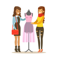 Two women discussing pink dress on dummy part of vector