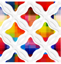 White wavy rectangles with rainbow and white net vector image vector image