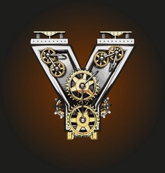 Y letter with gears vector