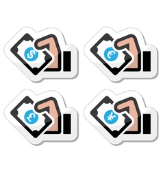 Hand with money icon vector image