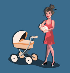 Mother with baby in stroller vector