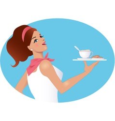 Waitress holding a cup of coffee and biscuits vector