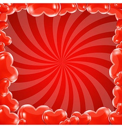Red beams and hearts frame vector