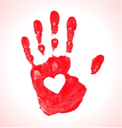 Hand print with heart icon vector image