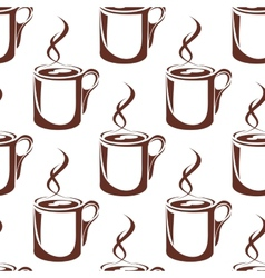Brown hot coffee cups seamless pattern vector image