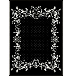 Antique silver frame with the decor vector