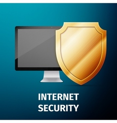 Computer display with shield - internet security vector