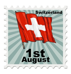 Post stamp of national day of switzerland vector