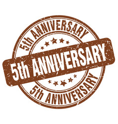 5th anniversary brown grunge stamp vector