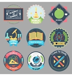 Color vintage school emblems set vector