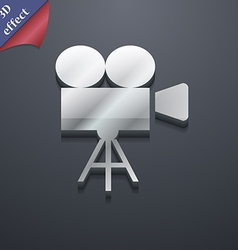 Video camera icon symbol 3d style trendy modern vector