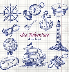 Collection of sea adventure in sketch style on vector