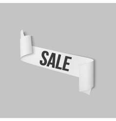 White sale sign paper banner ribbon with vector