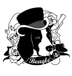 Beagle portrait isolated vector
