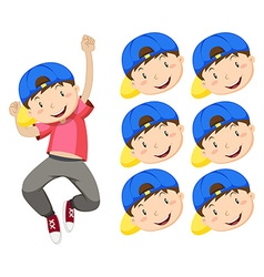 Boy with blue cap and many expression faces vector