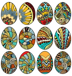 Hand drawn easter eggs vector