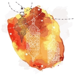 Festive hanging watercolor arabic lamps vector