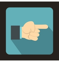 Pointing hand gesture icon flat style vector