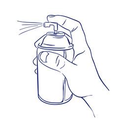 Aerosol spray in hand spraying vector