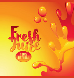 banner with inscription fresh juices and splashes vector image vector image