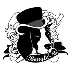 Beagle portrait isolated vector
