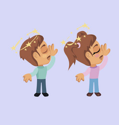 boy and girl with fainting symptom vector image