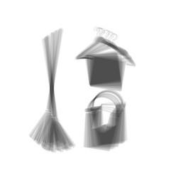 Broom bucket and hanger sign gray icon vector
