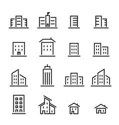 Building line icon vector